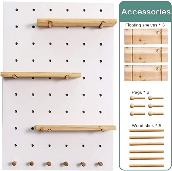 Creation Core Wooden Pegboard With 3 Floating Shelves 6 Pegs Hooks Wall Storage Organizer System For Office Home Kitchen Decor 15 7x23 6 White