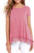 QIXING Women's Tops Long and Short Sleeve Lace Trim O-Neck A-Line Tunic Blouse