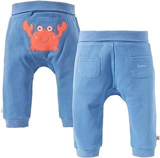 Bornino Seaside Hose - einfarbige Baby-Hose in Interlockqualität aus Reiner Baumwolle mit Krabben-Applikation - blau