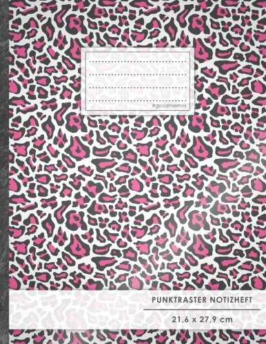 "Punktraster Notizbuch • A4-Format, 100+ Seiten, Soft Cover, Register, ""Pinkes Leopardenmuster"" • Original #GoodMemos Dot Grid Notebook • Perfekt als Skizzenbuch, Tagebuch, Handlettering Übungsbuch"