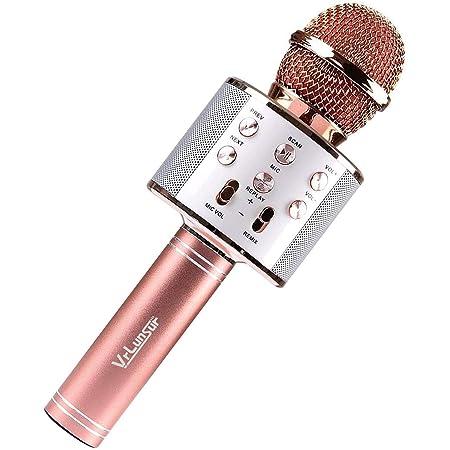 SeeKool Bluetooth Karaoké Microphone,Haut-parleur portable Sans Fil, pour Enfants Adultes Chanter, Ktv à La Maison Partie Meilleur cadeau, Compatible avec Android/IOS/PC/Smartphone (gold)