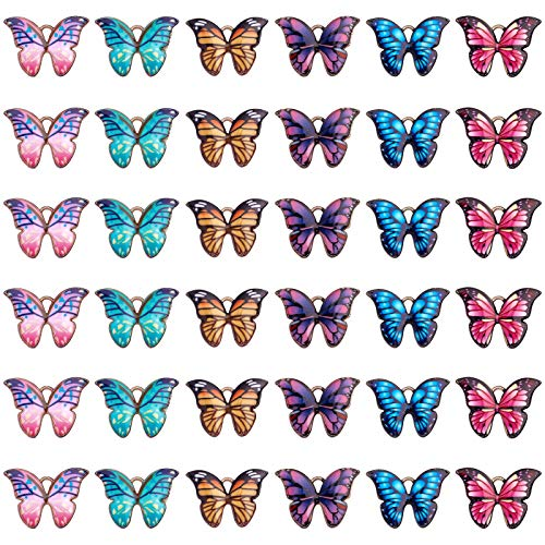 SUNNYCLUE 36Pcs 6 Styles Glod Butterfly Enamel Pendant Charms Alloy Butterfly Jewelry Charms for Women Girls Jewelry Making Necklace Earrings Bracelet Craft Findings