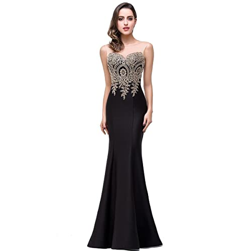 631674136c34 Babyonline Mermaid Evening Dress for Women Formal Lace Appliques Long Prom  Dress