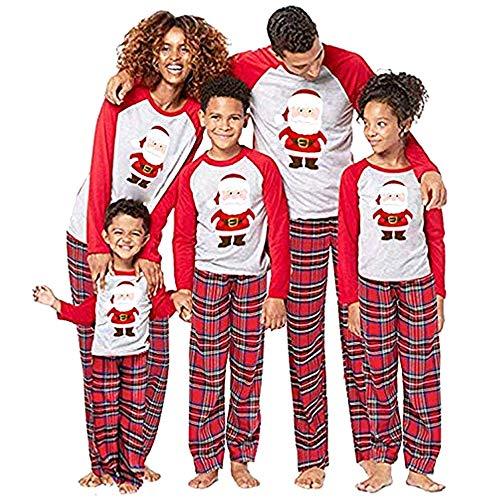 douleway Pyjama de Noël Famille, Vêtements de Nuit Costume Coton à Manches Longues Chemises + Pantalons Longs Sweat Hiver Sweat de Noël Printemps pour Hommes Femmes Enfants