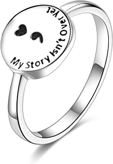 SILBERTALE Sterling Silver Semicolon Ring for Women Depression Suicide Awareness Ring My Story Isn't Over Yet Semicolon Jewelry Size 5-11