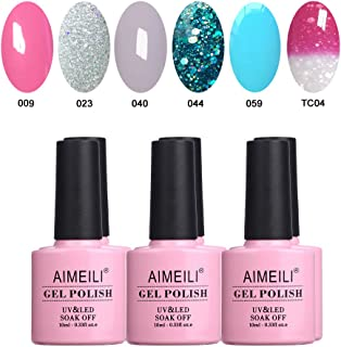 AIMEILI Soak Off UV LED Gel Nail Polish Multicolour/Mix Colour/Combo Colour Set Of 6pcs X 10ml - Kit 4