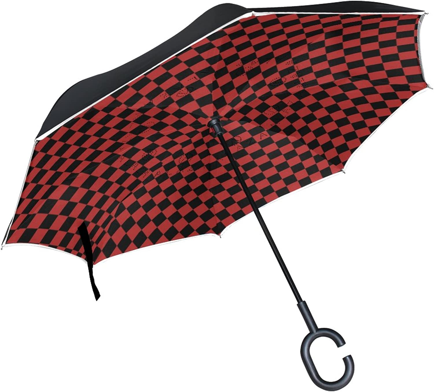 LEISISI Black and Red Checkered Squares Double Layer Ingreened Umbrella Reverse Auto Open Umbrella Windproof UV Predection Upside Down Umbrella for Car Rain Outdoor Use