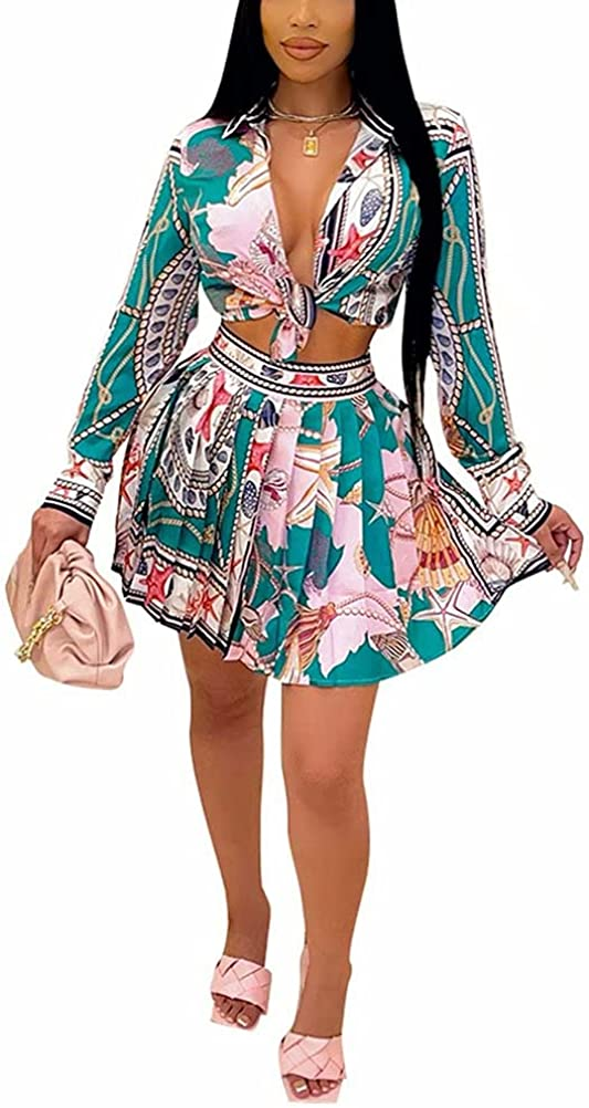 Ranking TOP17 Women Sexy 2 Piece Outfits Shirts Sho NEW before selling ☆ Top Up Skater Chain Button