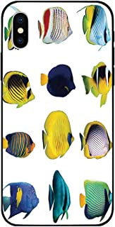 Phone Case Compatible with iPhone X BrandNew Tempered Glass Backplane,Ocean Animal Decor,Tropical Fish Figures with Zebrasoma Anemonefish Dive Nemo Aqua Home Decor,Multi,Anti-Shock and Shockproof