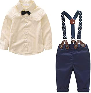 Yilaku Toddler Boys Outfits Suit Infant Clothing Newborn Baby Boy Clothes Sets Gentleman Plaid Top+Bow Tie+Suspender Pants
