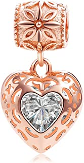 SOUKISS Rose Gold Heart Crystal Charms Pendant Solid 925 Sterling Silver Love Dangle Bead Valentines Day Charms
