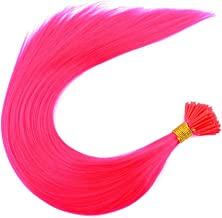 Huaviewin Synthetic Feather Keratin Fusion Various Color Keratin I- Tip Stick Hair Extensions With Silicone Micro Beads 18'' 100 Strands/Pack (Hot Pink)