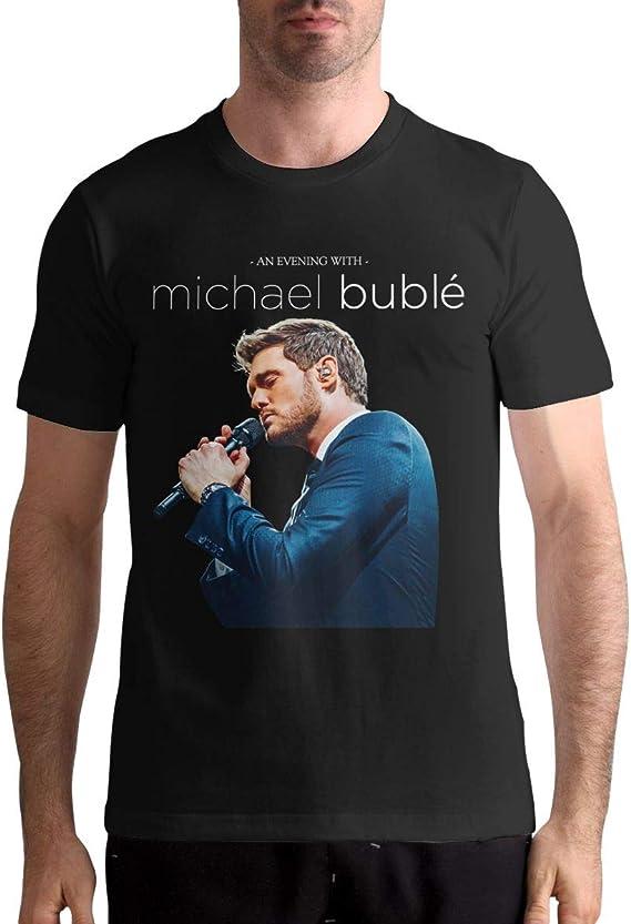 Michael Buble Black Womens Classic Cotton Round Neck T-Shirt Casual Basic Short-Sleeved Shirt T-Shirt Top