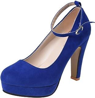 SODIAL Womens High Heel Platform Stiletto Ankle Strap Buckle Pumps Faux Suede Shoes Blue - 38