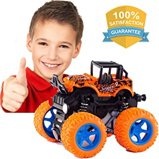 LayYun Pull Back Cars Toys for Boys, Monster Truck Toys,Four-Wheel Drive Inertia Car Toys, Car Party Favors for Toddlers Boys Age 2-5 Year Gifts for Kids Birthday (Orange)