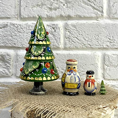 Nesting Doll Christmas Set Winter Miracle-Christmas Tree,Russian Santa Claus, Snowman and a Small Christmas Tree, Carved from Wood and Painted by Russian Craftsmen.Made in Russia by RUS Heritage.