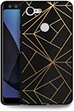 HelloGiftify Geometric Gold TPU Black Soft Gel Protective Case. Compatible with Google Pixel 3