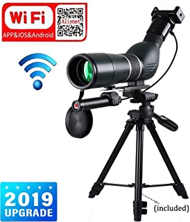 Aliynet 20-60x60mm Spotting Scope Telescope with WiFi Wireless Connect with Smartphone APP,Infrared Night Vision Monocular with Big Tripod&Phone Adapter for Outdoor Trip,Night Watching