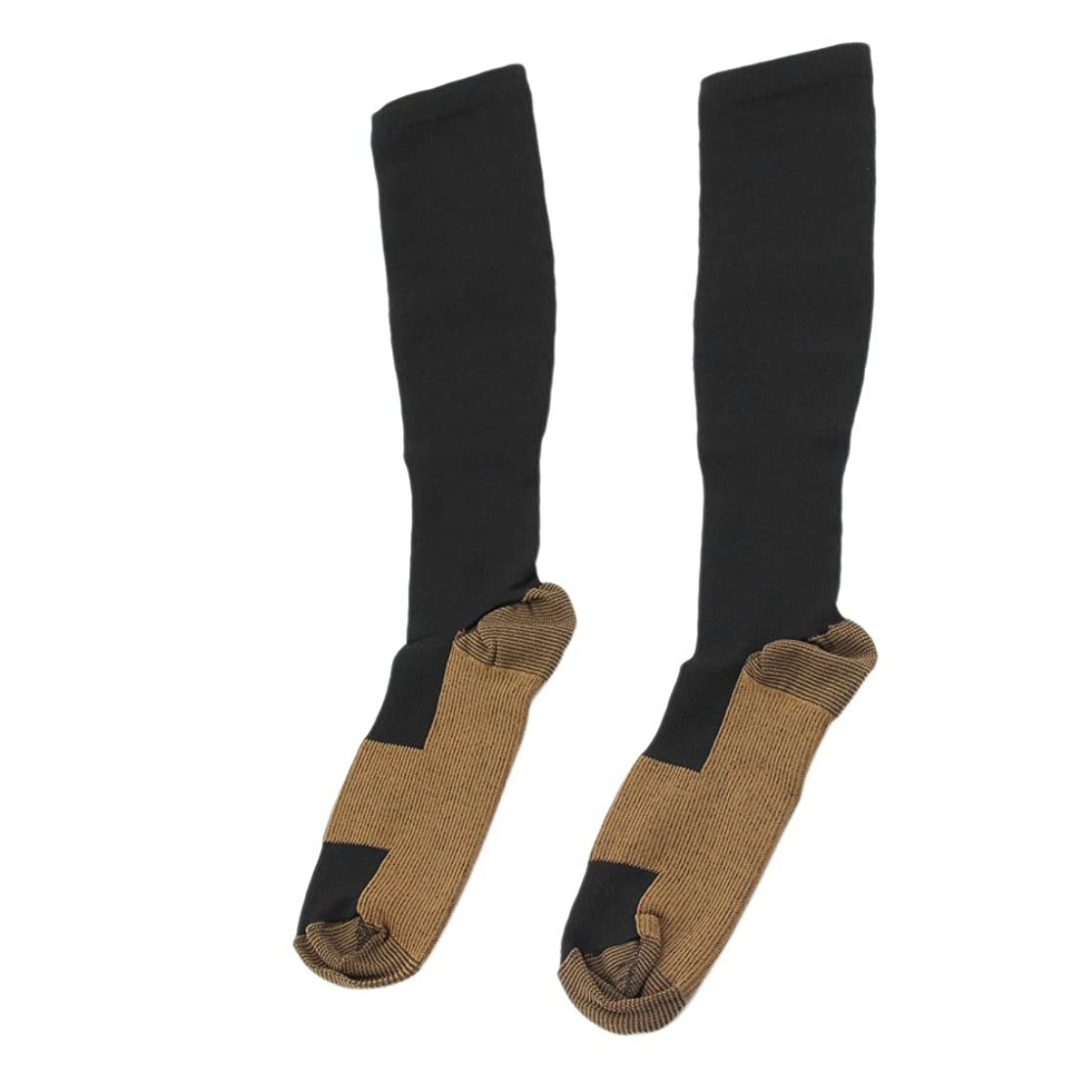 バーゲン公爵価格ファッショナブルな快適な救済ソフト男性女性抗疲労圧縮靴下抗疲労静脈瘤ソックス - ブラックL