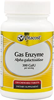 Vitacost Gas Enzyme Alpha-galactosidase -- 300 GalU per serving - 120 Chewable Tablets