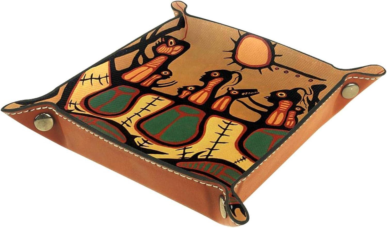 Bandeja de Valet, colector de Cuero de PU, Organizador de bandejas, Caja de Almacenamiento para Relojes, Monedas, Monedas, Billetera, Antiguo Barco de Sol