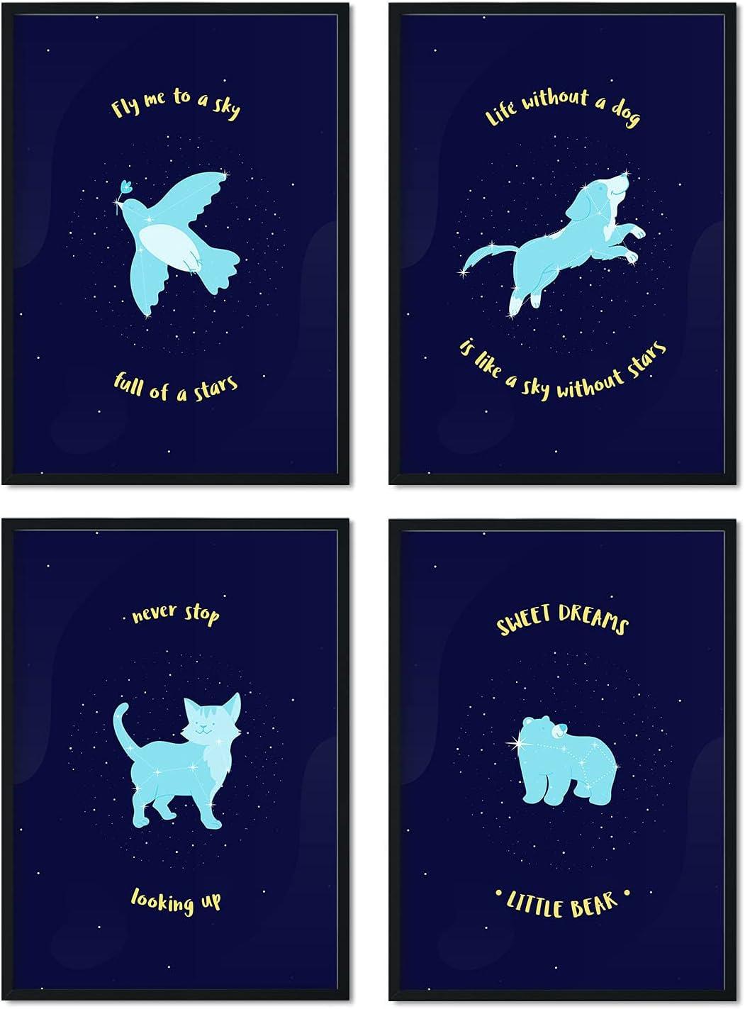 Nacnic Set de láminas Pack mascotas. Pósters de mascotas para amantes de los animales. Decoración de interiores. Tamaño A3.