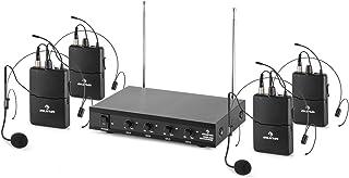 auna VHF-4-HS - 4-kanaals VHF-radiomicrofoonset, radiomicrofoonsysteem, 4 x draadloze headset-microfoon, 50 m bereik, volu...