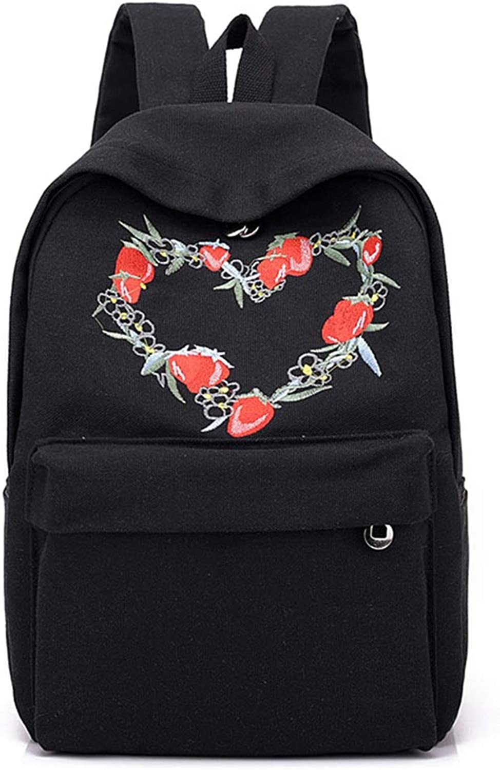 MISSKERVINFENDRIYUN YY4 Women's Flower Embroidery Backpack Leisure Travel Large Capacity Backpack College Student Bag (color   Black)