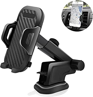 Universal 3-in-1 Car Phone Mount Cell Phone Holder for Car Dashboard & Air Vent & Windshield Adjustable Telescopic Arm Reusable Suction Cup 360° Rotation Phone Holder for All Smart Phone