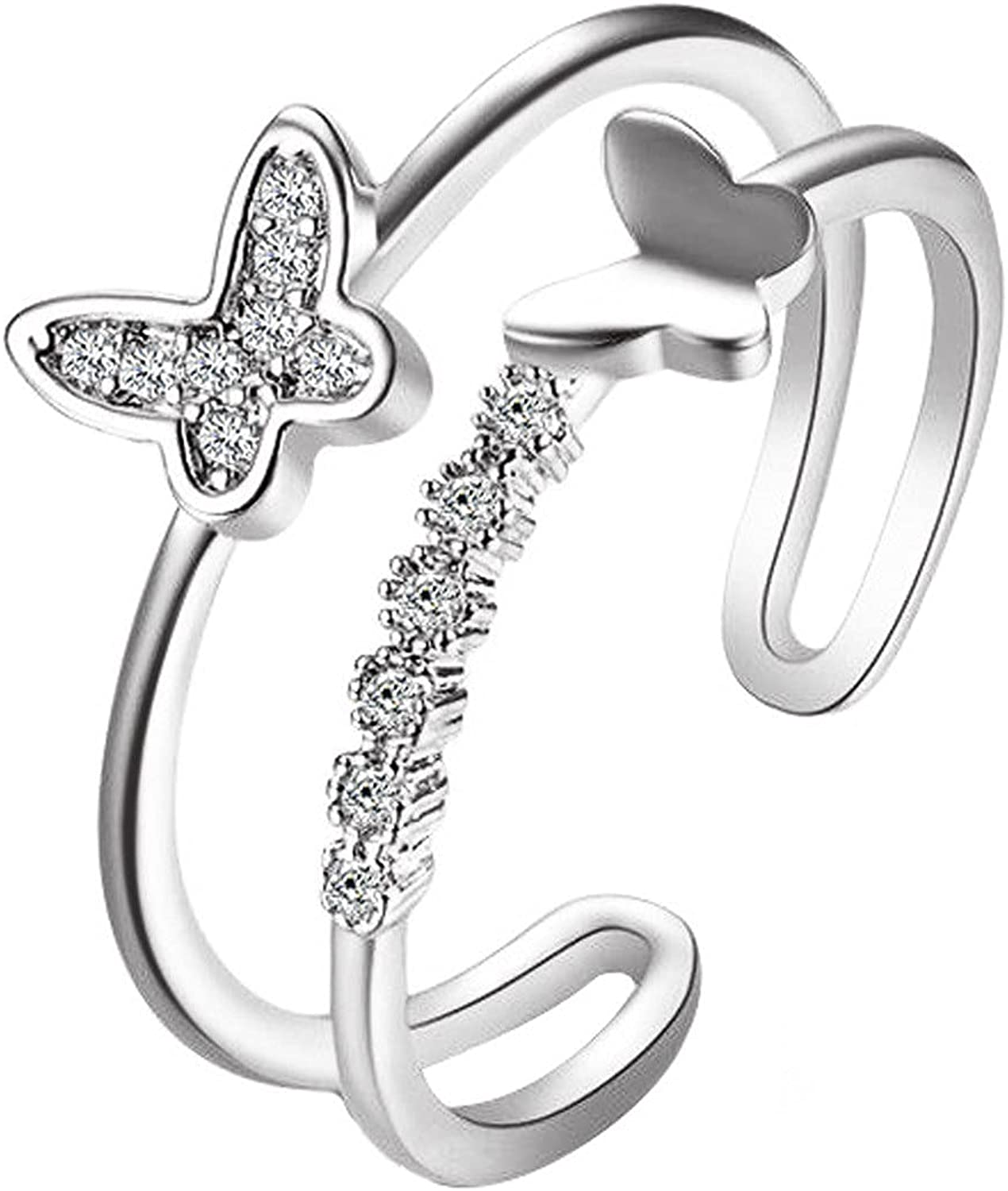 ksowam Butterfly Max 69% OFF Adjustable Free shipping on posting reviews Open Band Women for 925 Sterli Ring