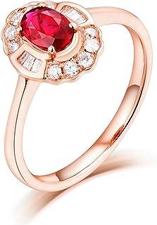 ButiRest - Anello in vero oro rosa 18 carati 750 con quattro artigli taglio ovale 0,5 carati Rubin VS e diamante 0,35 carati