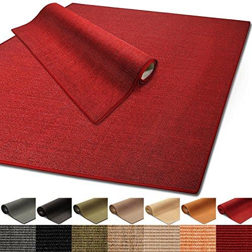 Floordirekt 100% reines Sisal | Sisalteppich vielen Größen (Rot, 140 x 200 cm)