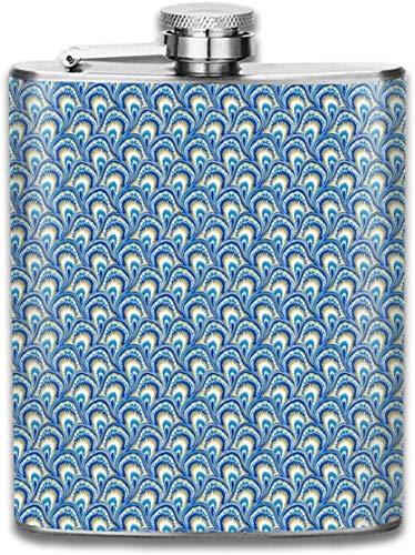 Marmorierendes Pfau-elektrisches blaues Edelstahl-Fläschchen Auslaufsicherer Whisky-Wein-Flagon-Becher, der 8 Unze-Flachmann trinkt