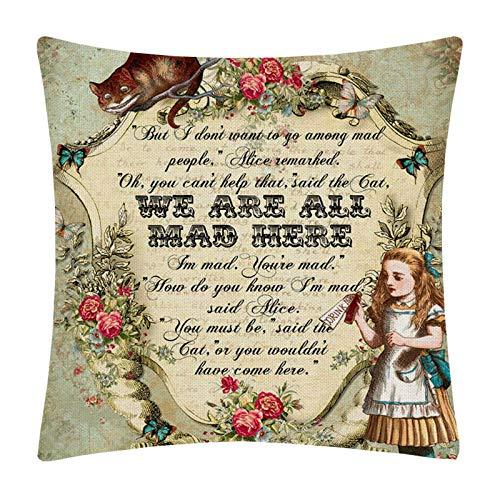 Vintage Alicia en el país de las maravillas Fundas de cojines Letras de dibujos animados Conejo Funda de cojín de lujo Niños Niños Dormitorio Funda de almohada de lino