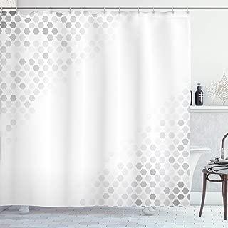 Ambesonne Grey Shower Curtain, Abstract Beam Shape with Geometric 6 Cornered Mosaic Style Futuristic Illustration, Cloth Fabric Bathroom Decor Set with Hooks, 70