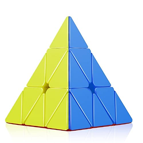 Emob High Speed Pyraminx Stickerless Triangle Rubik Cube Puzzle (Multicolor)