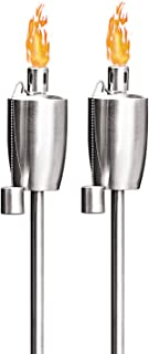 FAB BASED Oil Torch Lamp Torch for Patio/Garden/Lawn/Backyard - 55 inch - Stainless Steel - Fiber Glass Wick - Set of 2 Pi...