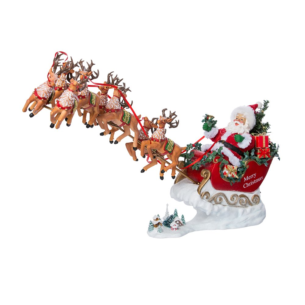 Image of Festive Musical Reindeer and Santa Claus Figure