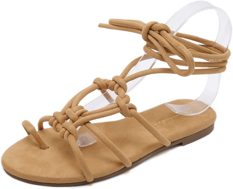 Termainoovr Women Sandals Flats Summer Beach Flip Flops Knot Gladiator Ankle Strap