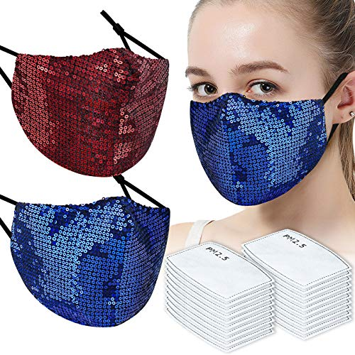 (2 Masks + 20 Filters) Washable Fashion Glitter Sequin PM2.5 Carbon 5-Layer Filter Protective Face Masks, Adjustable Elastic Earloop Reusable Breathable Skin-Friendly Fabric Comfortable Fit (Red+Blue)