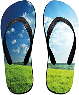 e3004940c93 Funny Summer Flip Flop, Refreshing Meadow Valley Under Cloud Sun Sky Spring  Grass Country ImageFor