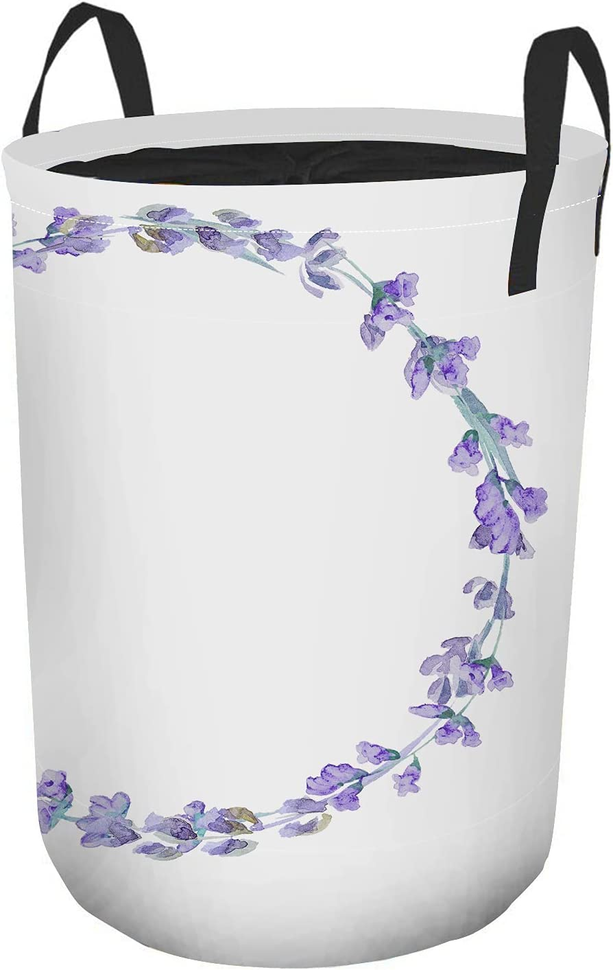 Beabes Lavender Wreath Super beauty product restock quality top Laundry Max 62% OFF Cloth Hampers Beautiful Purple La