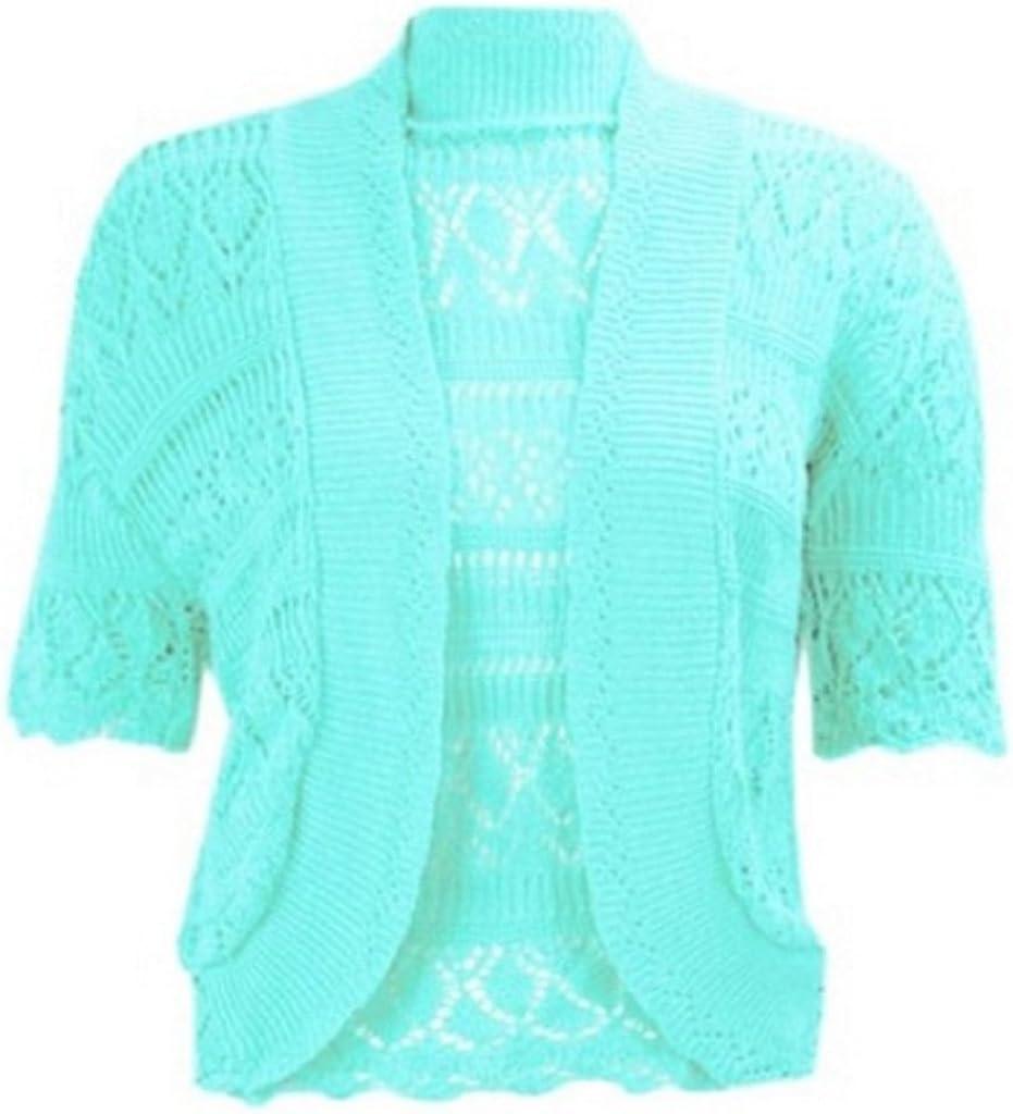 ZJ Clothes Crochet Knitted Shrug Cap Sleeve Aqua LXL