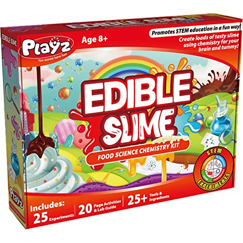 Playz Edible Slime Candy Making Food Science Chemistry Kit for Kids with 25+ STEM Experiments to Make Slimy Hot Chocolate, Marshmallows, Snot, Blood, Slugs, Worms and More!