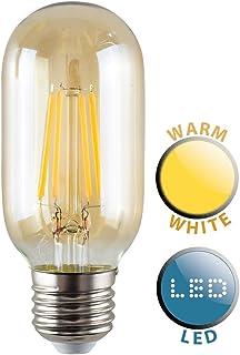 MiniSun 4W LED Filamento �mbar Tubular de válvula de radio–Bombilla Luz Blanca Cálida, 2700K, ES E27, E27, 4.0 wattsW 240.00 voltsV
