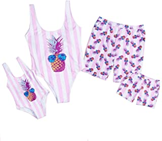 Baonmy Family Matching Swimwear Daddy Mommy and Me Bikini Bathing Suit Boys Swim Trunks