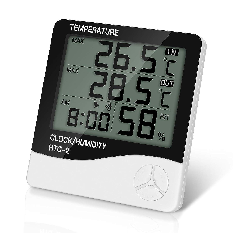 羽作り遊び場Berukon デジタル温湿度計 室温計 湿度計 温度計 高精度 最高最低温湿度表示 LCD大画面温湿度計 壁掛け 置き 乾燥対策 熱中症 健康管理 日本語説明書付き (ホワイト)