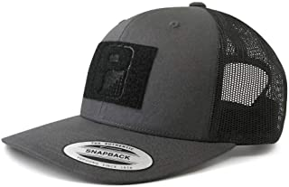 Tactical Hat   Authentic Snapback 2-Tone Curved Bill Trucker Cap   2x3 in Hook and Loop Surface to Attach Morale Patches   6 Panel   Charcoal Grey and Black   Free US Flag Patch Included