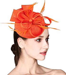 f9c85bfe2d3 HOLDOOR Fascinator Feather Fascinators for Women Pillbox Hat for Wedding  Party Derby Royal Banquet