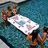 ZYEZI Beer Pong Pool Matte, schwimmende Reihe, aufblasbare Poolmatratze Entertainment, Schwimmkissen...